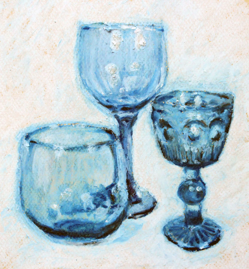Glass with oil pastl drawing
