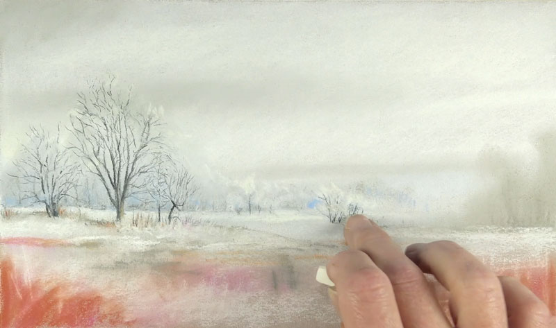 Painting distant winter trees