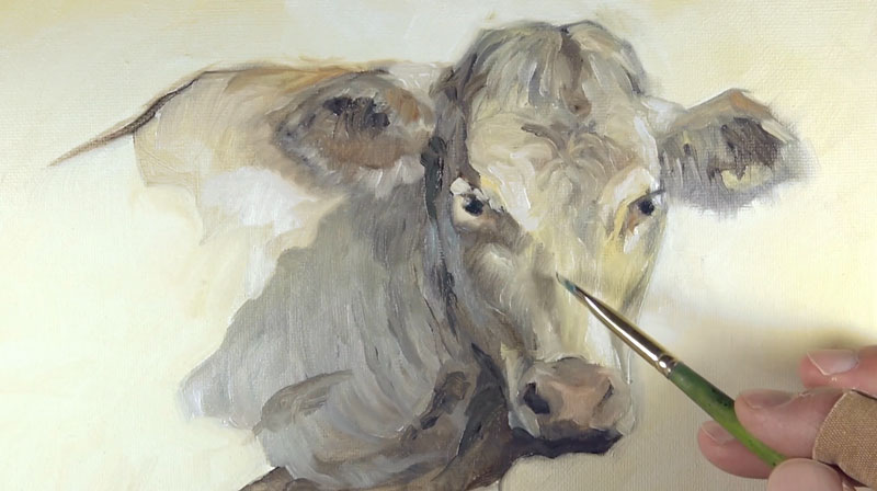 Finishing the highlights and shadows on the cow