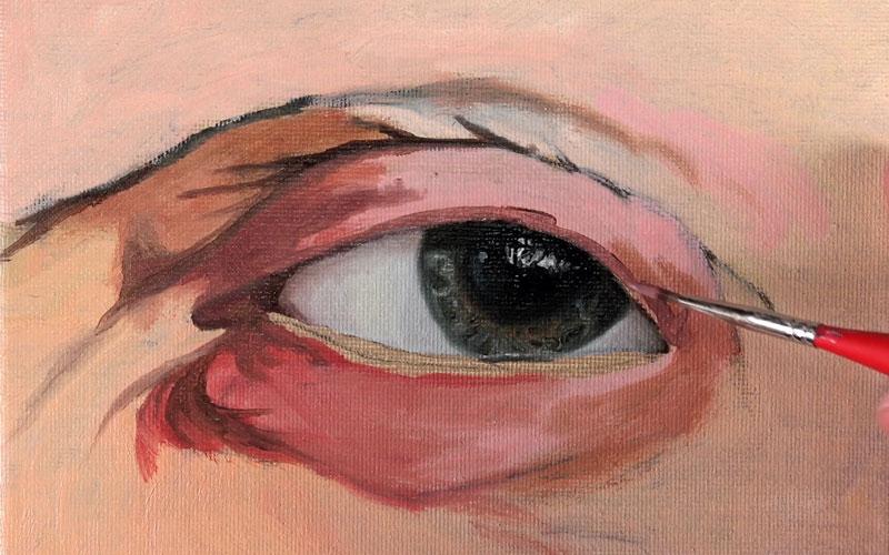 Mixing the skin tones around the eye