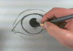 Draw a charcoal eye-step 2 fill in the pupil