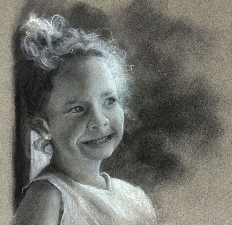 Charcoal Portrait Drawing - Young Girl