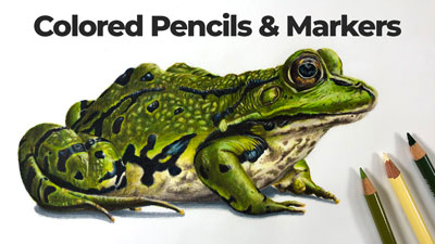 Markers and colored pencils frog