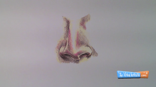 Drawing a nose in colored pencils