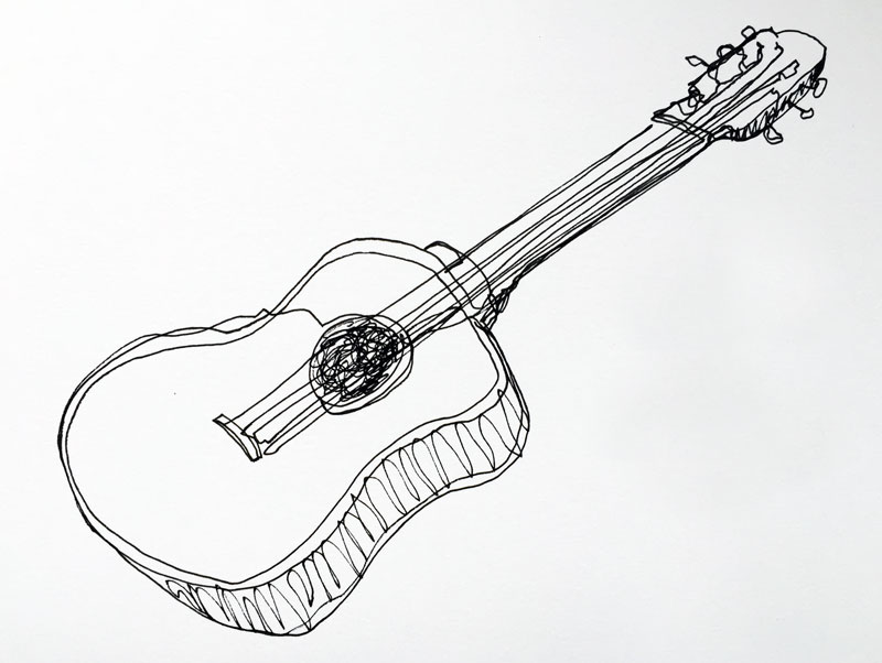 Line Drawing Guitar : Continuous line drawing
