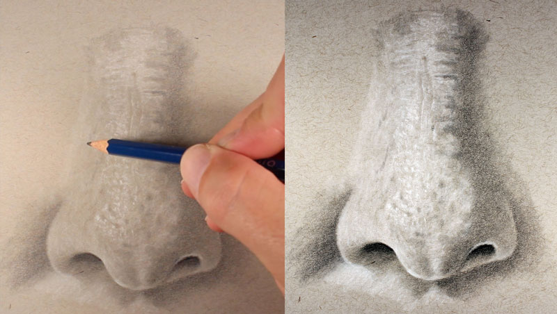 Finishing the drawing of a nose