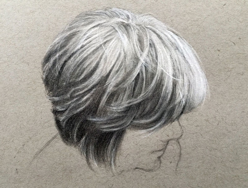 It's just a graphic of Astounding Charcoal Hair Drawing