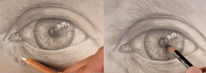 Drawing the texture of the skin around the eye