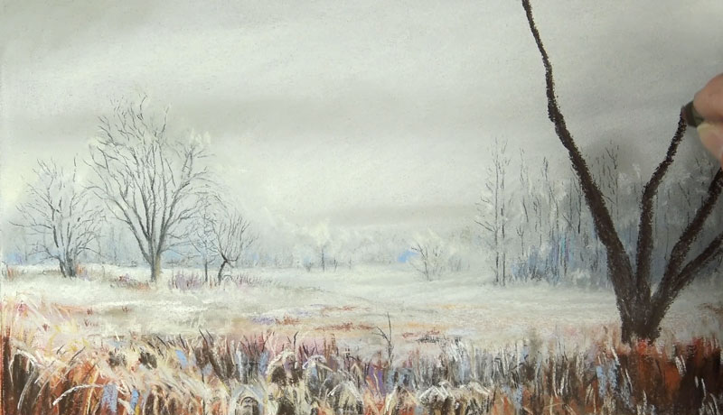 Drawing a winter tree with pastels