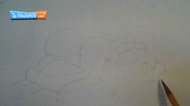 How to draw rocks step 1 - Outline the Rocks
