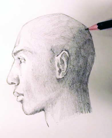 Drawing of a face from profile view