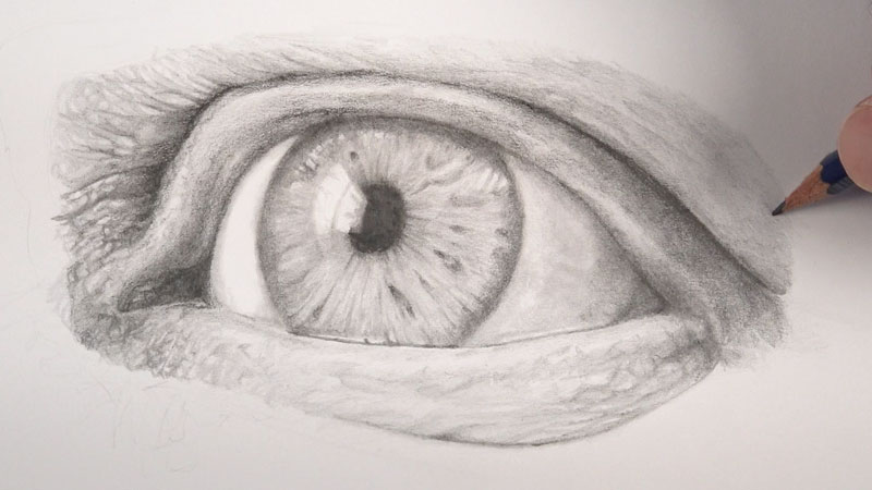 Sketching eyes - step four continued - Drawing realistic skin texture