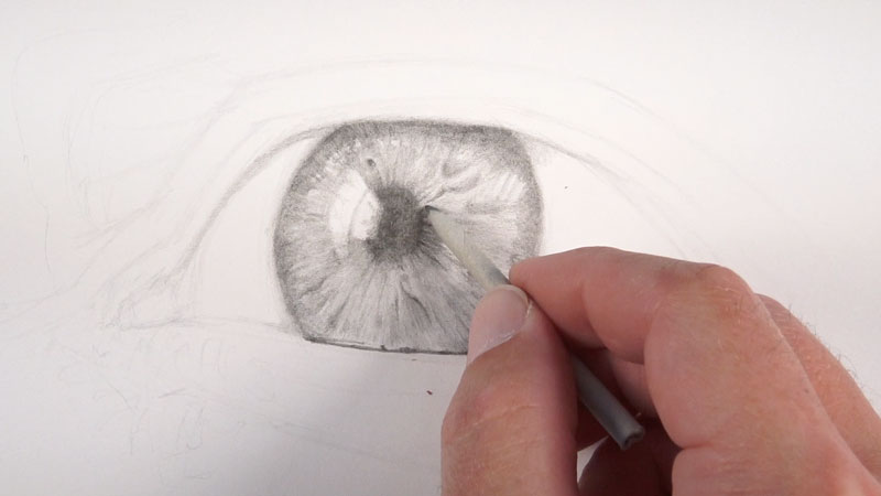 Using a blending stump to smooth pencil applications