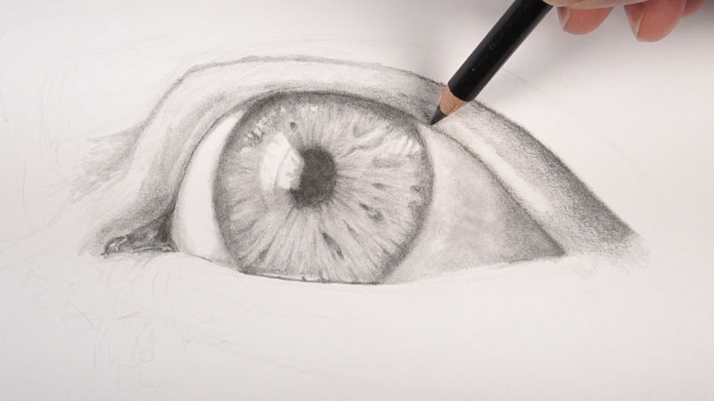 Drawing in the eyelid