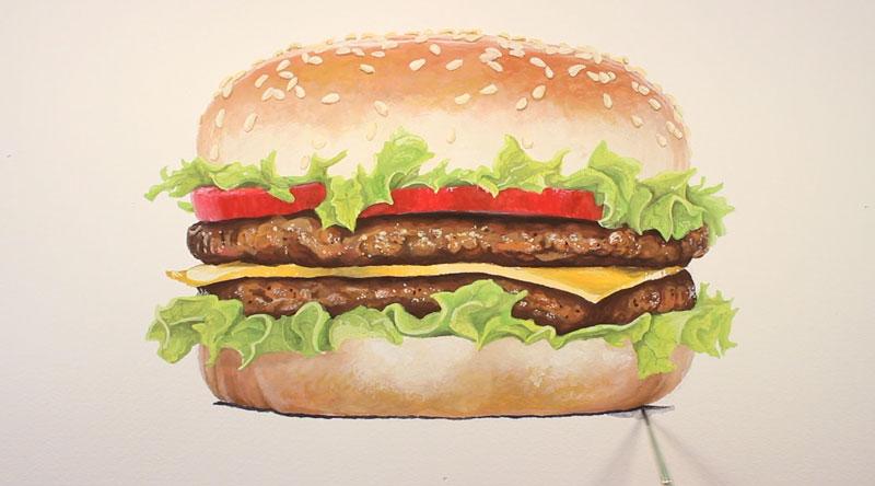 Paint cast shadow under the burger
