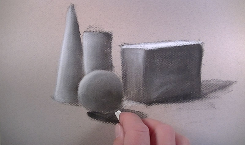 Drawing with compressed white charcoal