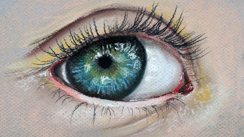 How to draw an eye with pastels