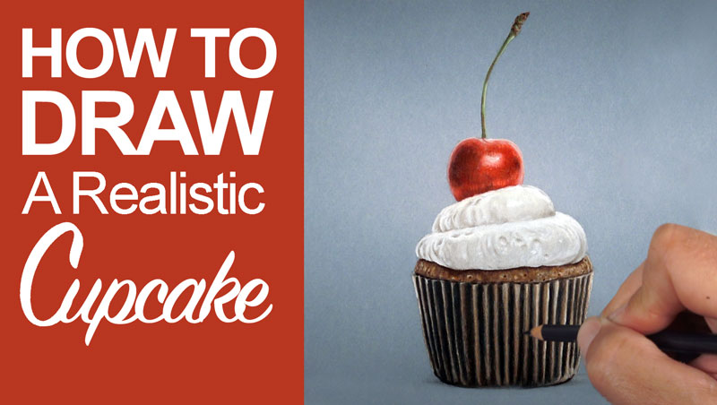 How to draw a realistic cupcake with colored pencils and Neocolor II wax pastels