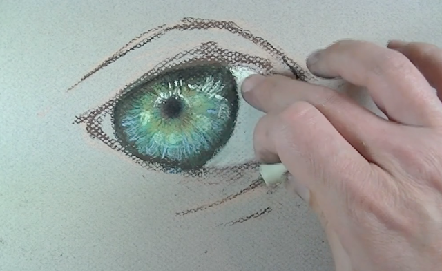 The white parts of the eye are painted in.