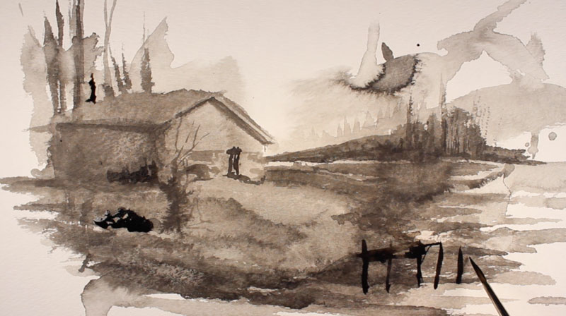 Ink wash step 6