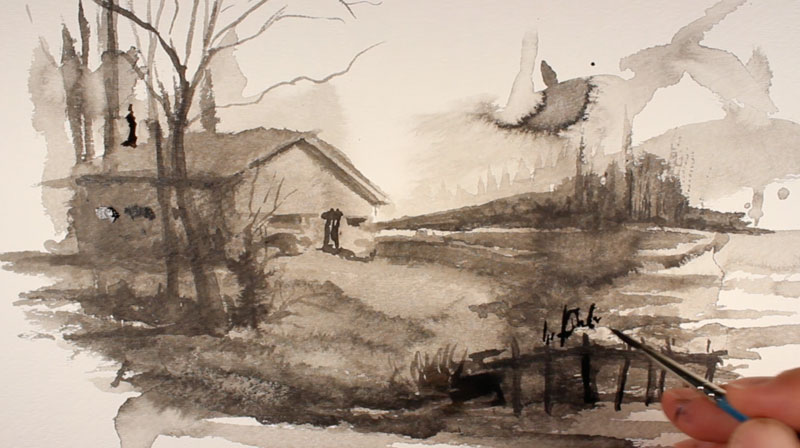Ink wash step 7