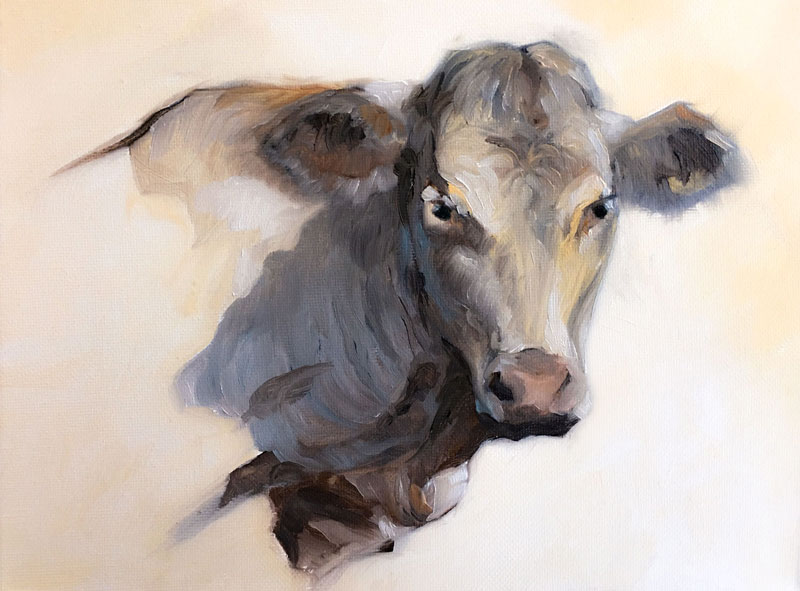Oil Painting of a Cow