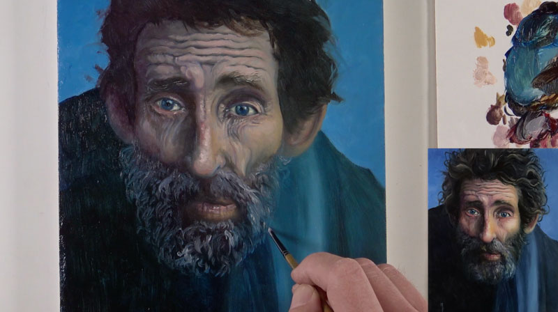 Oil portrait - painting the beard