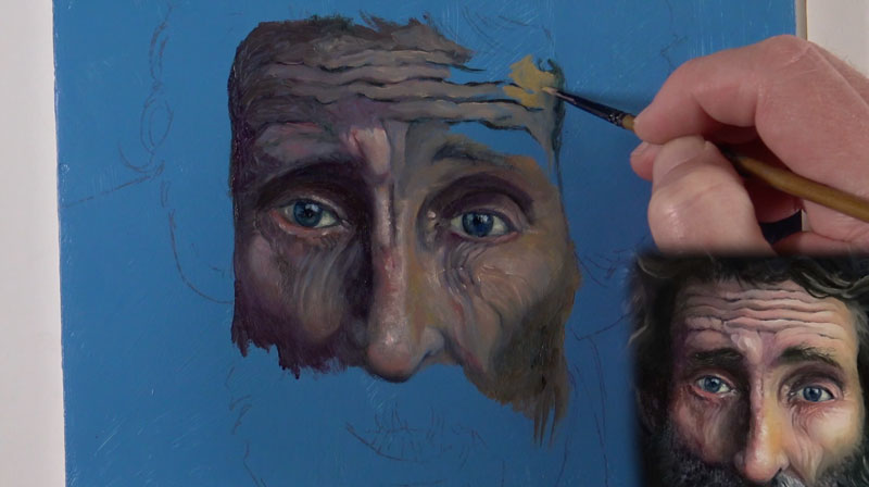 Oil portrait - developing the forehead