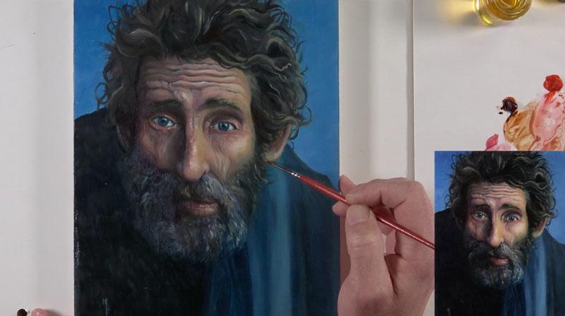Oil portrait - red glaze