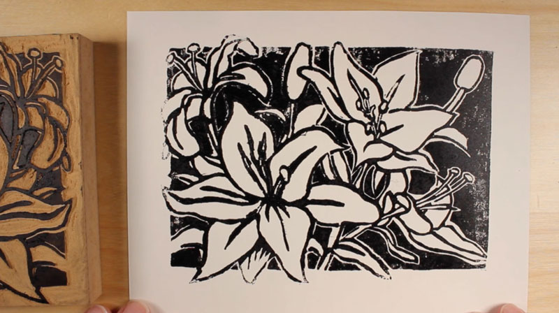 Over inked block print