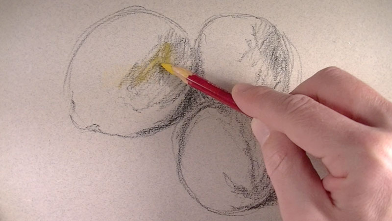 Draw contours with pastel pencils