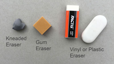 Erasers for pencil drawing