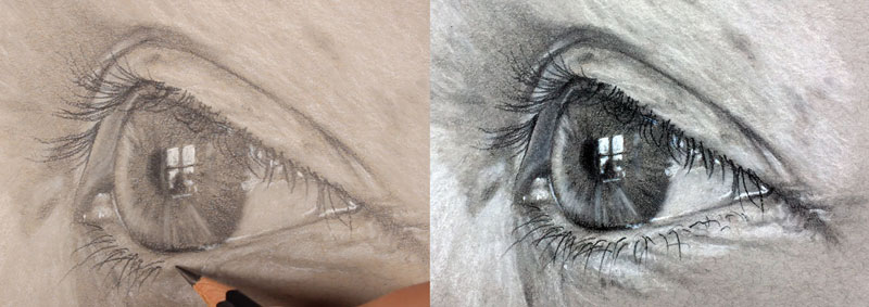 Realistic drawing of an eye - side view