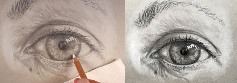 Realistic drawing of an eye with graphite and white charcoal pencils