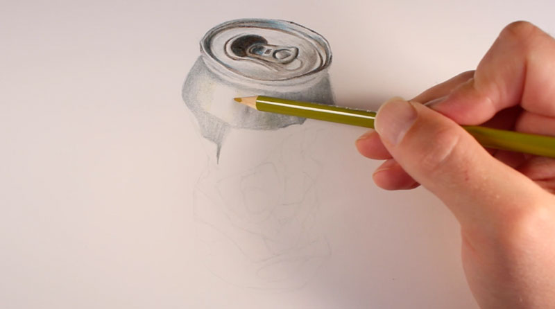 Realistic colored pencil drawing step 1