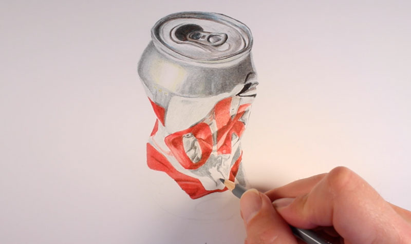 Realistic colored pencil drawing step 3