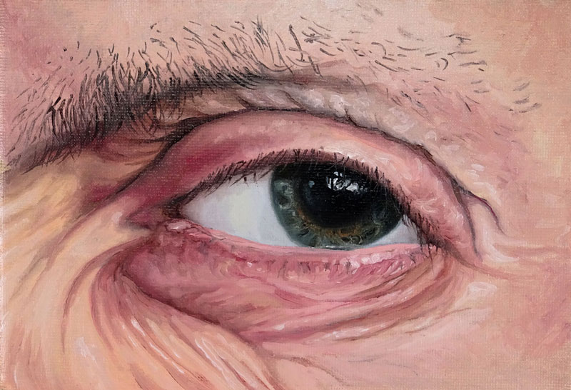 Realistic oil painting of an eye