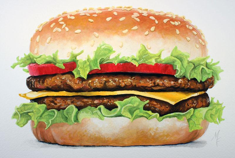 Realistic Painting of a Hamburger