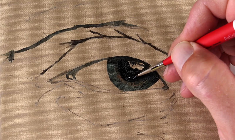 Developing the details of the iris with oil paint