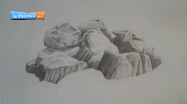 How to Draw Rocks Step 5 -Finish the drawing with softer graphite
