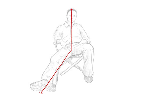 how to draw a person sitting down step 1 - line from head to feet