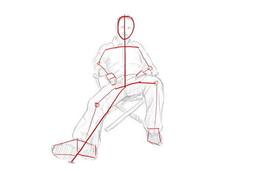 how to draw a person sitting down step 3 -stick figure