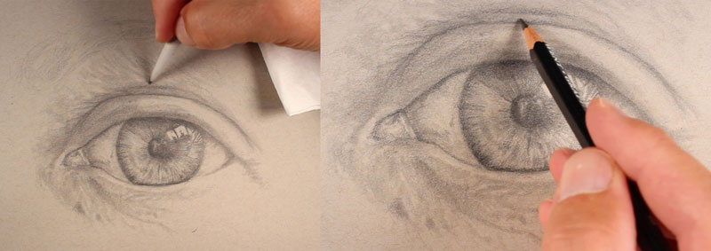 Shading the eyelid and surrounding areas of skin
