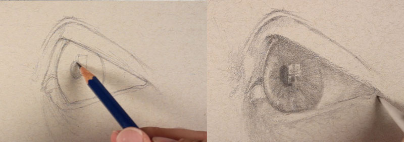 How to sketch an eye from the side - step three - Shading the eye - side view