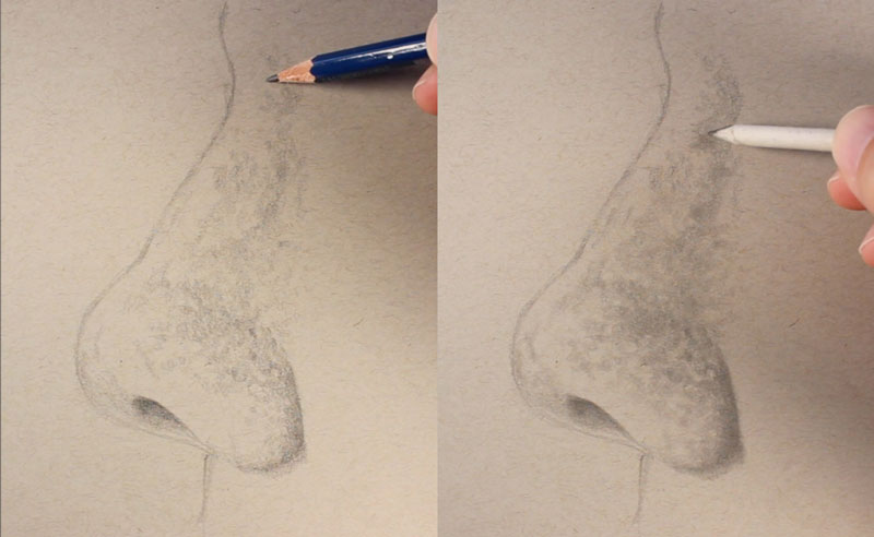 Shading the nose from the side