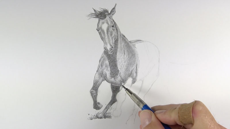 Drawing the dirt under the running horse