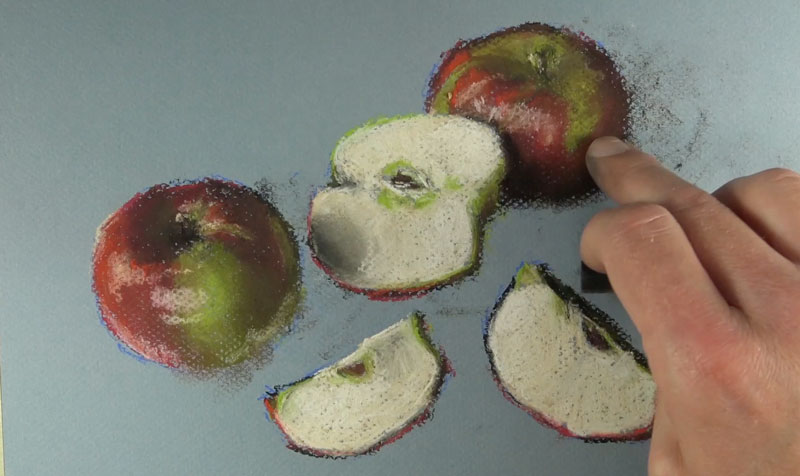 Adding cast shadows behind the apples