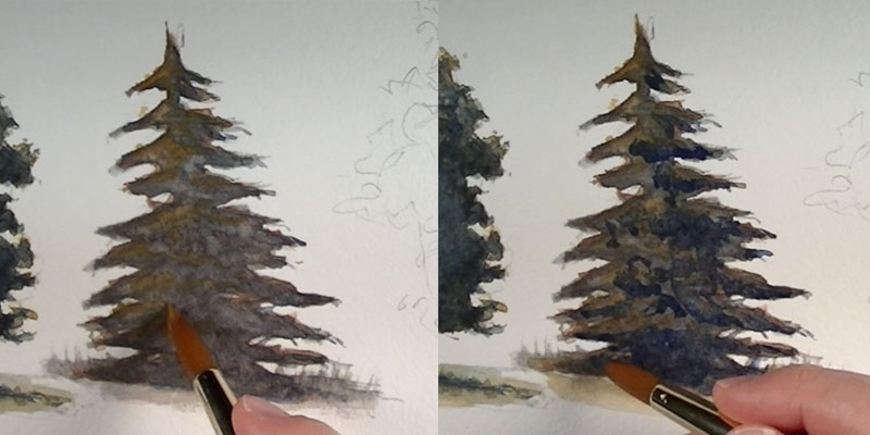 How to paint a pine tree - details
