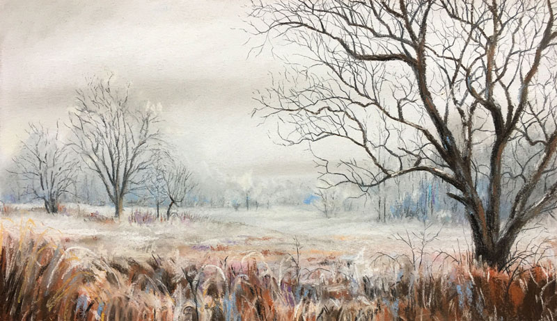 How to draw a winter landscape with pastels