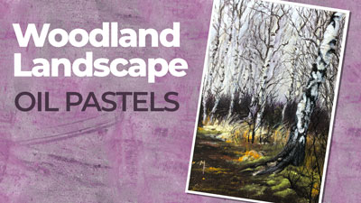 Woodland Landscape with Oil Pastels